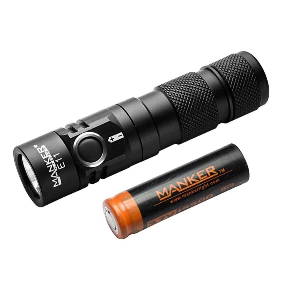 Манкер E11 800 люмен Cree XP-L светодио дный фонарик карманный мини EDC приводной механизм фонарика + 750 мАч 14500 Перезаряжаемые Батарея включены