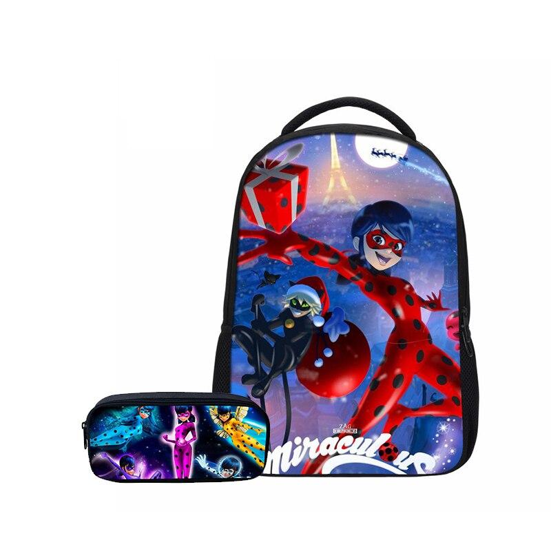 Hynes Eagle 2 Pcs/ Set School Backpacks Pencil Case Fashion Miraculous Ladybug Prints 3D Bookbag Teenager Girls Casual Backpacks