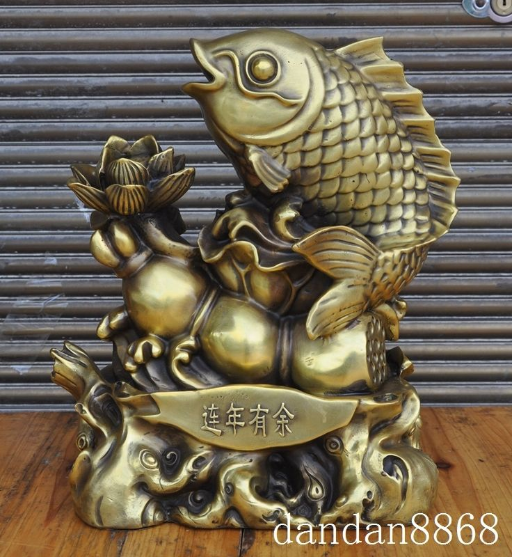 """wedding decoration 13""""Chinese brass lotus root goldfish fish statue's Meaning Every year more than God statue Statues & Sculptures     - title="""