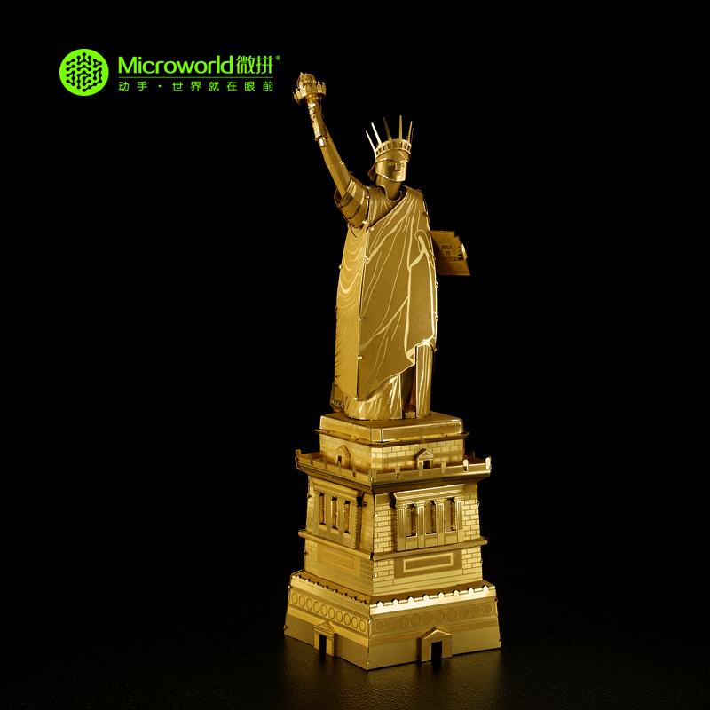 Original Microworld U.S.A THE STATUE OF LIBERTY puzzle 2 sheets Metal assembly model Creative intelligence toy Classic gifts the statue of liberty disappear magic props white black
