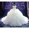 2016 Hot Sale Ball Gown Sweetheart Handmade Luxury Beading Lace Up Gorgeous Cathedral Train Vestido De Novia Wedding Dresses