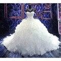 2016 Hot Sale vestido de Baile Querida Artesanal de Luxo Beading Lace Up Lindo Catedral Train Vestido De Novia Vestidos de Casamento