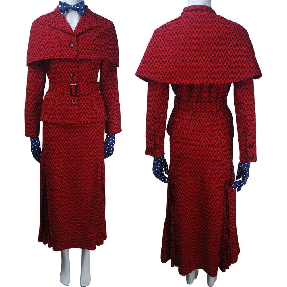 Для женщин Мэри Поппинс возвращается (2018) костюм косплей няня плащ пальто верхняя одежда костюм для хеллоуина Рождество подарок на день рож...