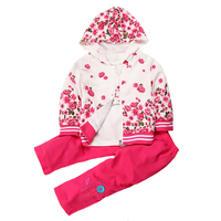 Floral Baby Girls Sports Suit Cotton New Born Girls Clothing Set Long Sleeve Coat T Shirt