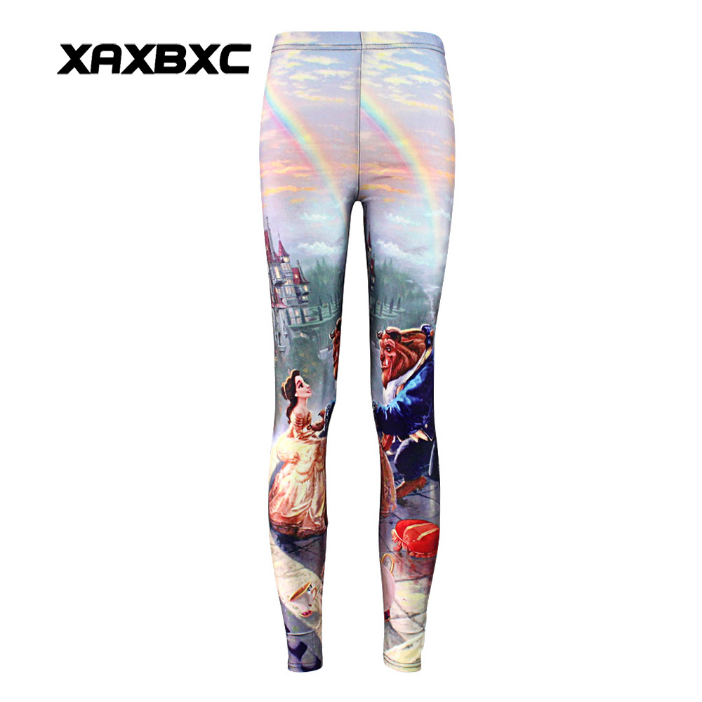 New 3477 Sexy Girl Cartoon Beauty And The Beast Prints Elastic Slim Fitness Workout Women Leggings Trousers Pants Plus Size