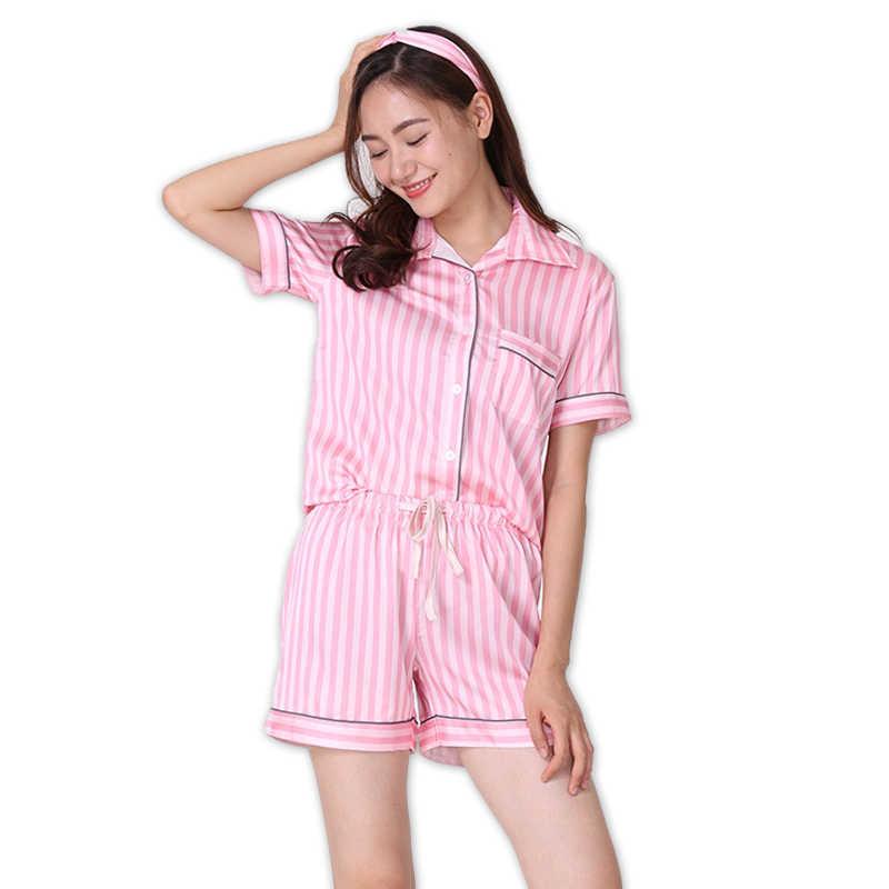Sexy Silk satins Pink stripe short pajamas sets women short sleeves elegant  Pyjamas for women Secrets 5d91be005