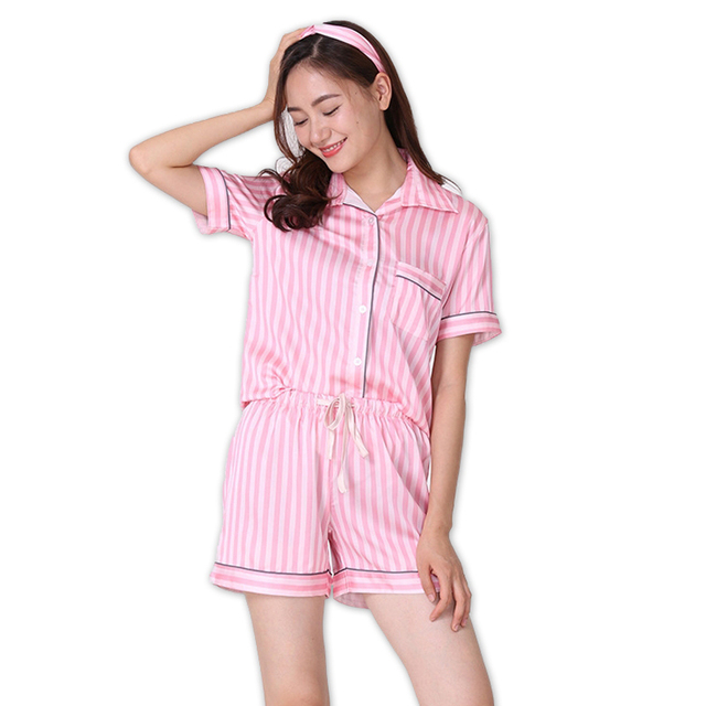 fbdbca1c59 Sexy Silk satins Pink stripe short pajamas sets women short sleeves elegant  Pyjamas for women Secrets pink homewear nightwear