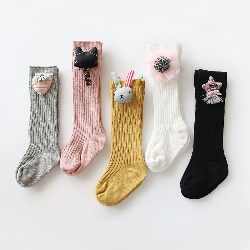 1 Pair Winter Girl Lovely Cute Cartoon Rabbit Kids Baby Socks Knee Girl Baby Toddler Socks Animal Flower Soft Cotton Socks 0-3 Y