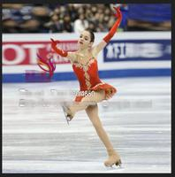 girls figure skating dresses custom ice figure skating dress red clothing for skating competition free shipping elastic