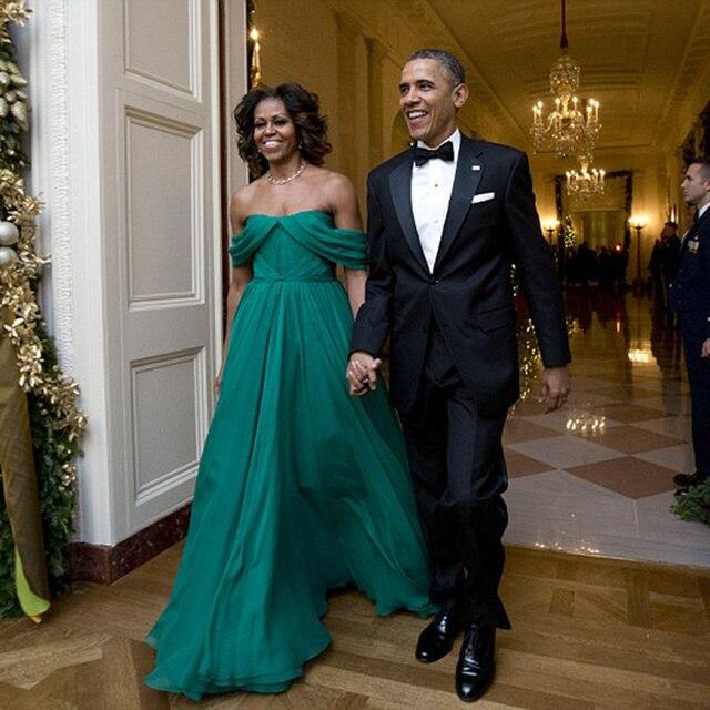 63a910392967 2017 New Michelle Obama Evening Dress Chiffon Hunter Green Cheap Prom  Dresses Long Off the Shoulder Formal Dress vestido longo