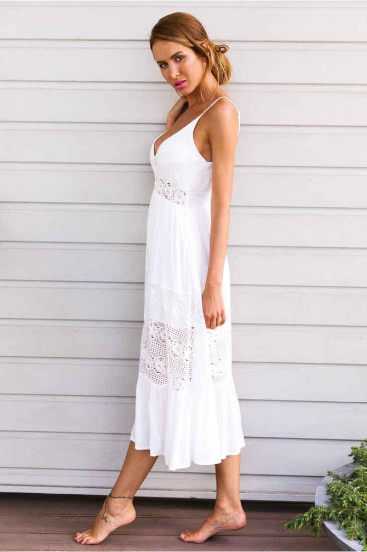 0e16fbd49a8c ... Women Maxi Summer BOHO Lace Beach Long Dress V Neck Sexy White Dresses  Ladies Evening Party