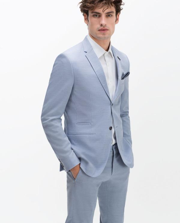 2017 Latest Coat Pant Designs Light Blue Causal Men Suit ...