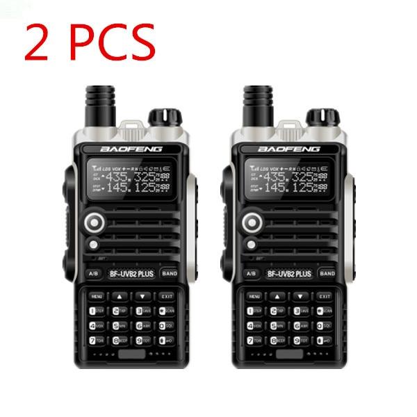2PCS UV B2Plus cb radio 8W handy baofeng 10km mobile walkie talkie dual VHF/UHF 136-174/400-520mhz 4800mah battery 128ch LCD