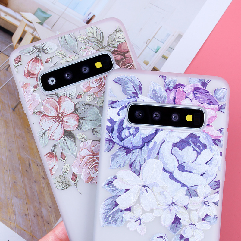 Image 4 - 3D Relief Soft TPU Cases For Samsung Galaxy S10 Flowers Covers For S7 Edge S8 Plus S9 Plus S10  Lite Plus Note 9 Silicone Capas-in Fitted Cases from Cellphones & Telecommunications