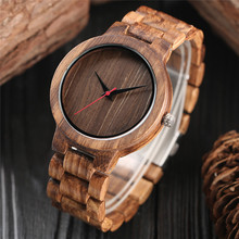 Vintage Clock Wood Mens Watches Creative Dark Dial Natural Handicraft Full Wooden Sport Clock Male Analog Quartz Valentine Gifts