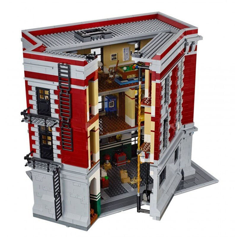 Lepin 16001 4705Pcs City Street Series Ghostbusters Firehouse Headquarters Building Block Bricks Kids Toys For Gift 75827 4695pcs lepin 16001 city series firehouse headquarters house model building blocks compatible 75827 architecture toy to children
