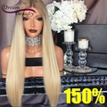 150% Full Lace Human Hair Wigs With Baby Hair Brazilian Lace Front Human Hair Wigs For Black Women Straight Blonde Ombre  Wigs