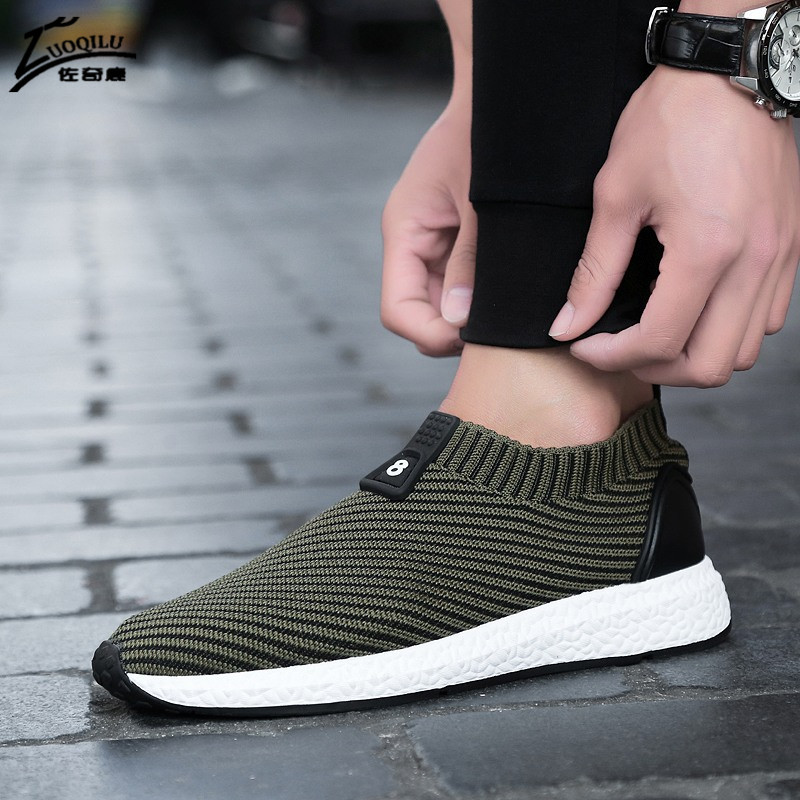 Fashion Men Casual Shoes Summer Breathable Comfortable Black Flats - Men's Shoes