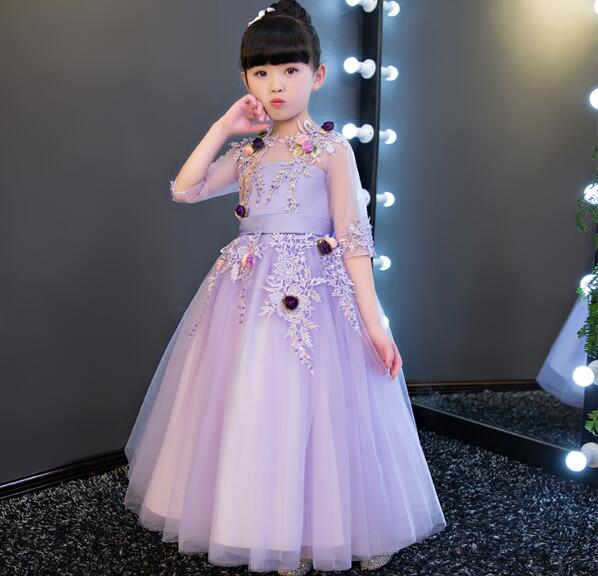 1-14Y Christmas Violet Lace Girls Wedding Dress flower Girl Dress Bead Half Sleeve Girls Prom Formal Dress First Communion Gown half dress roobins half dress