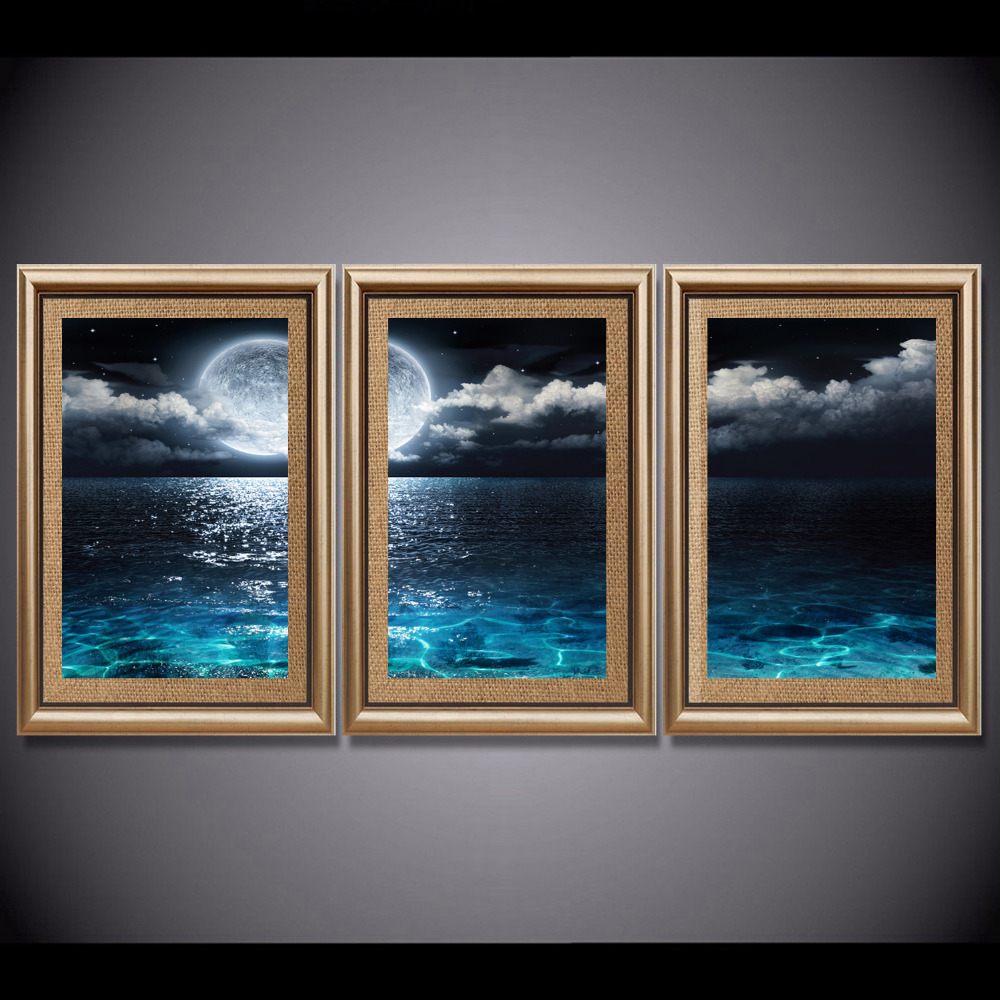 3 Pcs Wall Picture Lighting Moon Canvas Prints Painting Sea Landscape Wall Art Painting for Living Room Home Decorative Painting