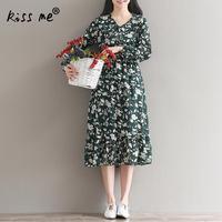 Vrouwen Chiffon Jurk Lange Mouwen Print Bloemen Vintage Stijl Vrouwelijke Gewaad V-hals Een Lijn Mid Lange Dames Vestidos Groene Kleur S-XXL