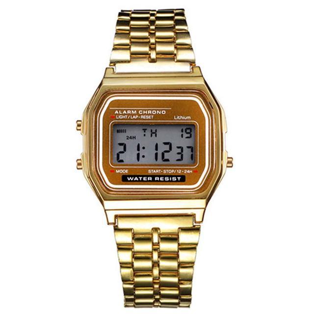 Elegant Women Gold Retro Stainless Steel LCD Digital Sports Stopwatch Watch