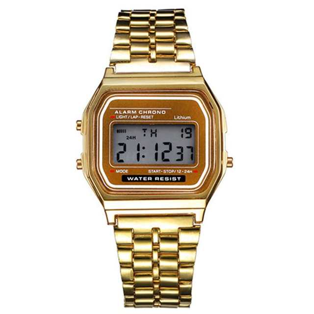 05c85f1dfa2 Online Shop Luxury Brand Digital Watch Men Fashion Casual Gold Stainless  Steel LED Watches Relogio Masculino Clock Hot Christmas Gift