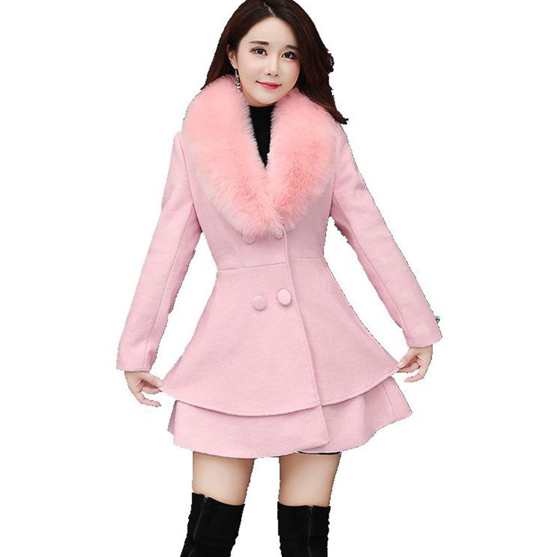Brieuces Autumn Winter Long Wool Coat Women Ruffles Wool Blend Coat and Jacket Removable Fur Collar Wool Women Coat Outwear