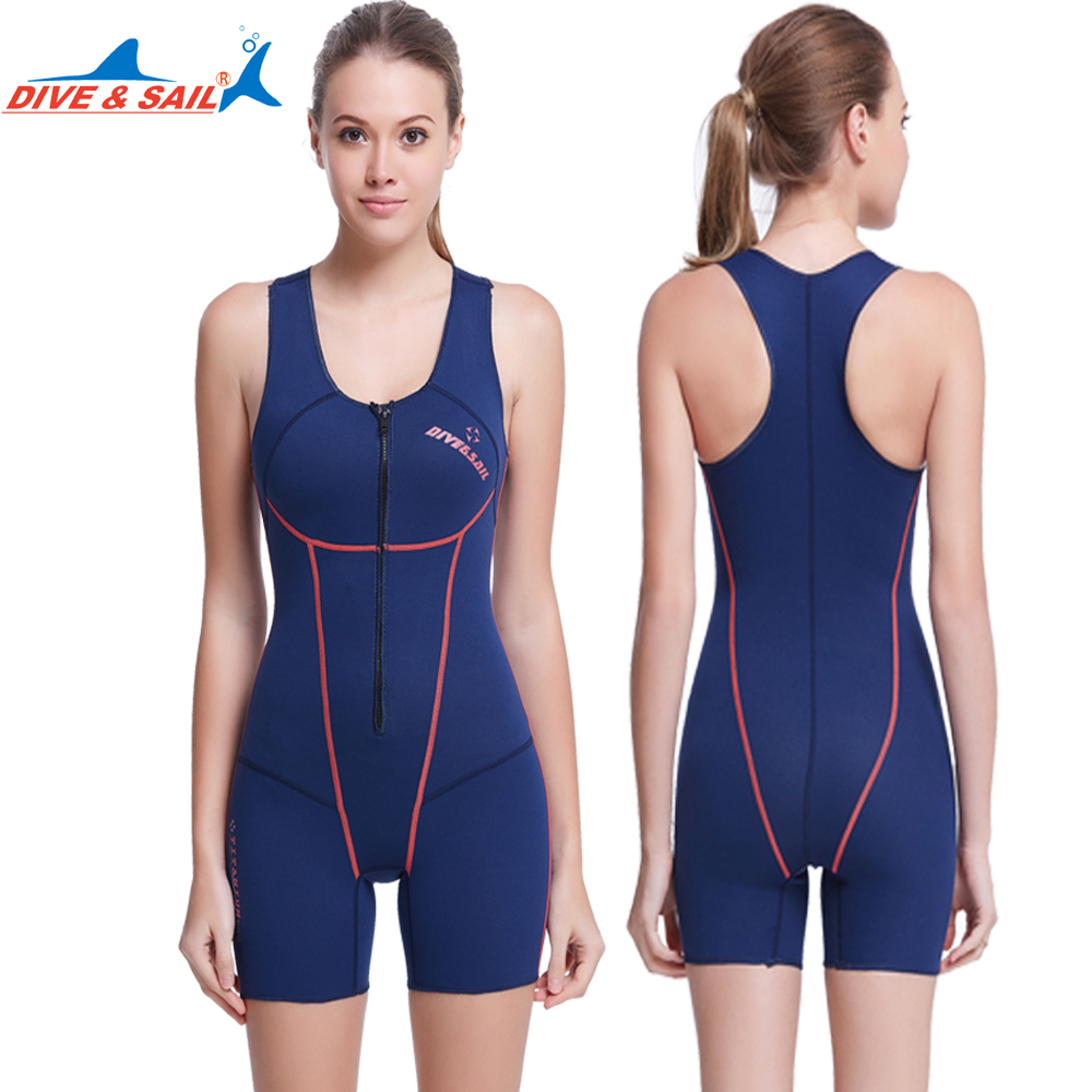 Detail Feedback Questions about Dive Sail 1.5mm neoprene women swimsuit one  piece zipper sleeveless wetsuit for swimming womens surfing swimming shirt  on ... ac0dc5622