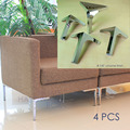 sofa legs metal feet chrome finish pack of 4 corner leg stand 12cm height