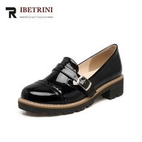 cdc5d603f RIBETRINI Women Flat Shoes Woman Patent PU Leather Loafers Platform Brogue  Shoes Buckle Oxford Flats Footwear. RIBETRINI Mulheres Sapatos ...