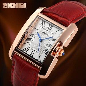 Image 3 - SKMEI Merk Vrouwen Horloges Mode Toevallige Quartz Horloge Waterdichte Lederen Dames Horloges Klok Vrouwen Relogio Feminino