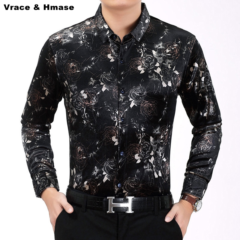 Spring&Autumn 2017 New pleuche high-quality long sleeve shirt American style fashion casual boutique printing men shirt M-XXXL