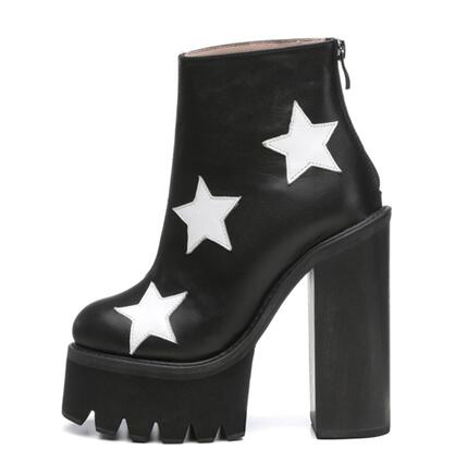 Genuine Leather stars super high heeled platform boots woman punk leather chunky high heel ankle boots large size custom make