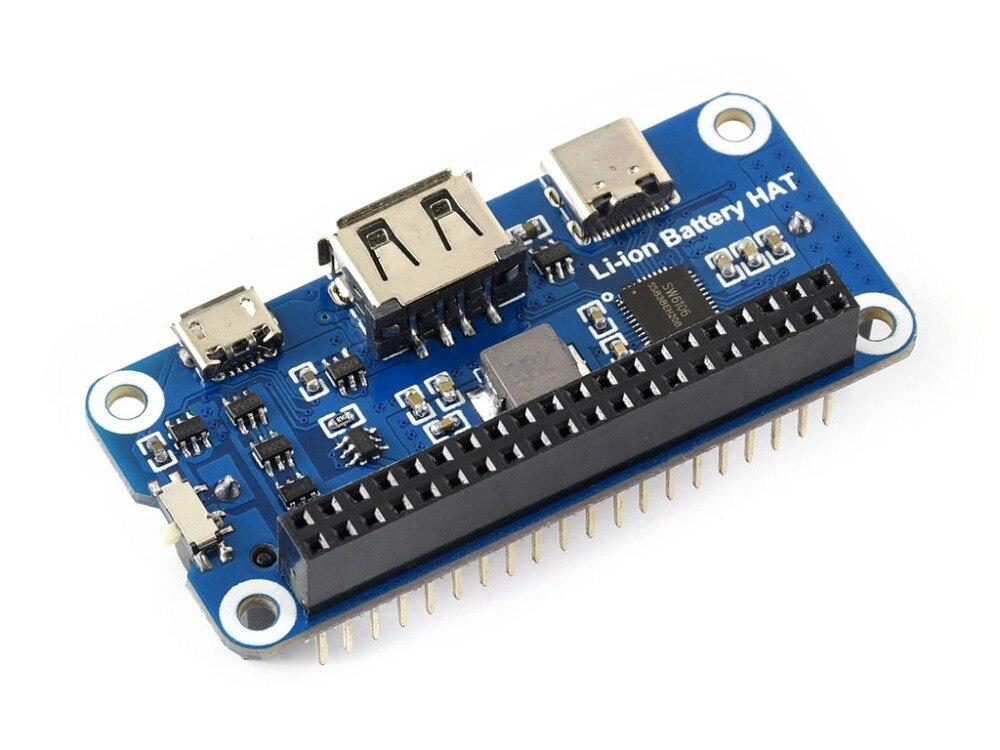 Image 4 - Waveshare литий ионный Батарея шляпа для Raspberry Pi 5 В регулируется Выход Bi directional Quick Charge объединяет SW6106 power bank чип-in Доски для показов from Компьютер и офис