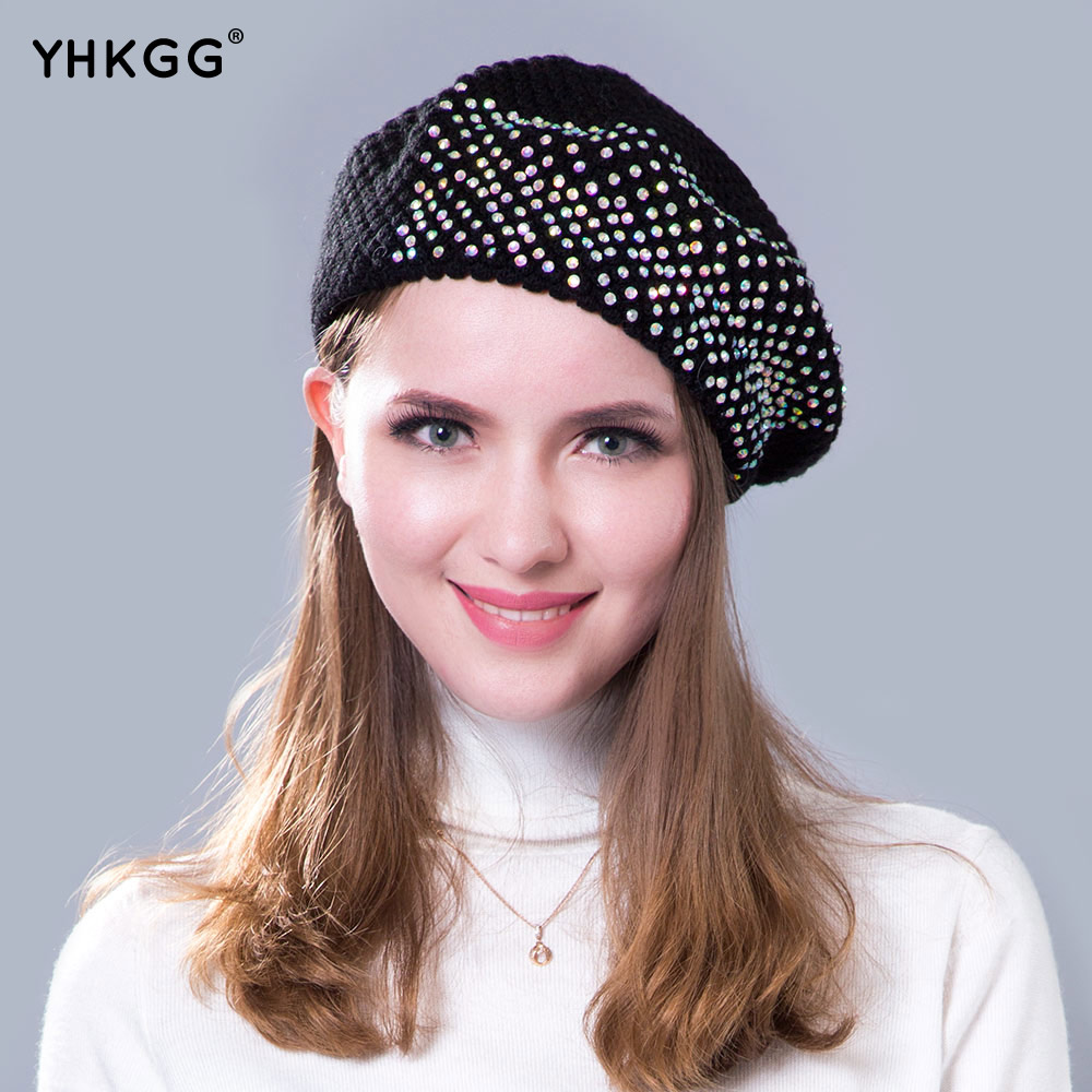 2017 beret diamond words of the latest street fashion buds hat Sparkling diamond luxury warm and beautiful style Knitted caps the situation of street walking prostitutes