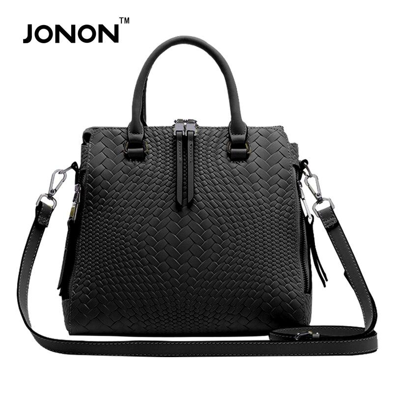 JONON 2016 Luxury Women Handbags knitted Genuine Leather Totes Messenger Bags shoulder Bag For Female Zipper