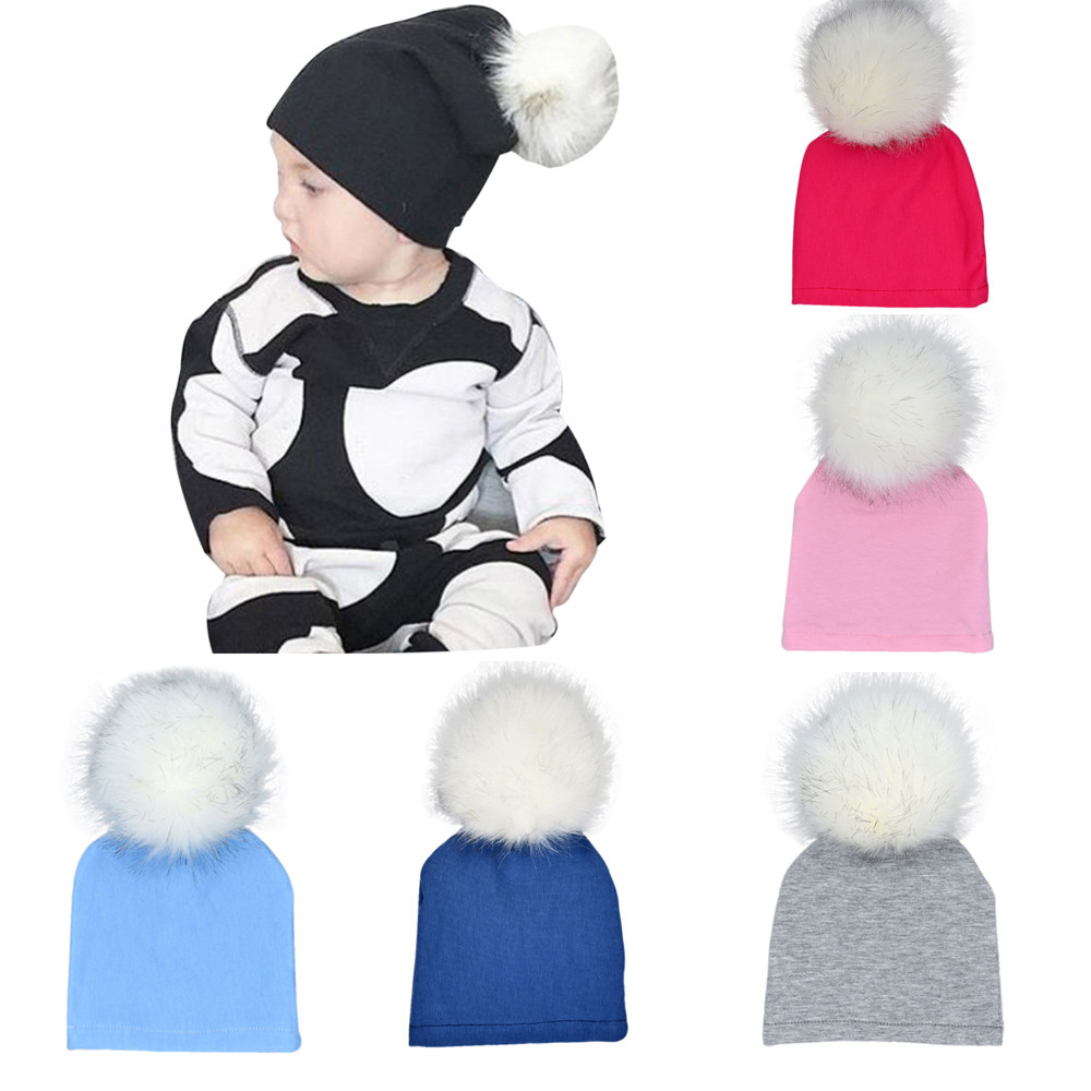 1 Piece Cute baby hat 6 Colors Newborn Infant Baby Winter Warm Solid Hats Hairball Beanie Photo Props Cotton Cap touca infantil