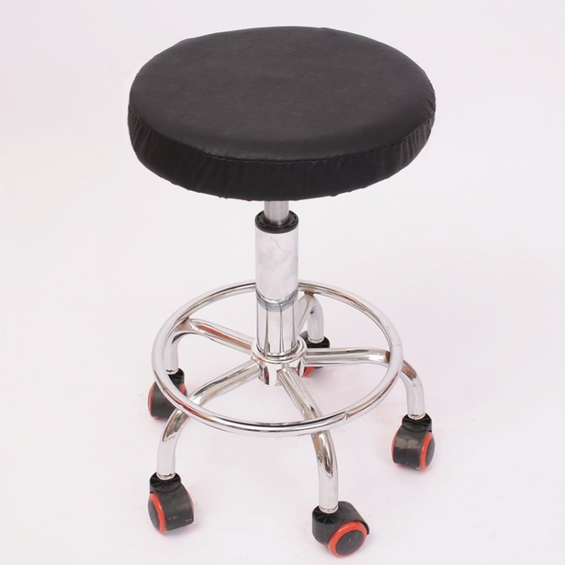 1pc Round Chairs Cover Elastic Pu Leather Waterproof Home