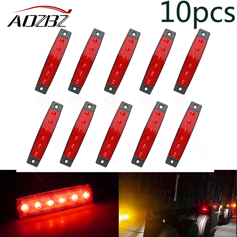 AOZBZ10pcs 10pcs Car Side Marker Light Amber Clearence Car Truck Bus Lorry Trailer Side Marker Indicators Light Lamp 12V 24V 10pcs 6 led red white green blue yellow amber clearence car truck bus lorry trailer side marker indicators light lamp 12v 24v