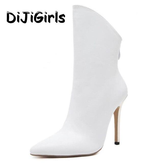 Dijigirls/Новые женские ботильоны в римском стиле Высокие каблуки пикантные туфли пинетки модный бренд Дизайн женские вечерние туфли Женская обувь, белый цвет черный
