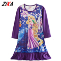 ZiKa Girls Kids Pajamas Nightdress Cartoon Elsa Sleep Wear Snow White Rapunzel Nightgown Long Sleeve Nightshirt Princess Dress