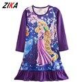 ZiKa Meninas Crianças Pijamas Camisola Desgaste Do Sono Dos Desenhos Animados Elsa Branca de Neve Rapunzel Camisola Longa Camisola de Manga Vestido de Princesa