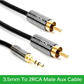 High Speed  3.5mm to 2RCA  Male Aux Cable Gold Plated 3.5 Jack RCA Audio Cables for Computer Phone