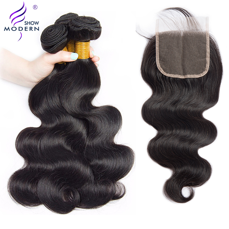 Malaysian Hair Wave 3 Bundles with Lace Closure Body Wave Bundles with Closure Non Remy Human
