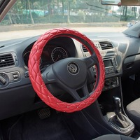 Car Steering Wheel Cover Crystal Rhinestone Diamond for Girl Car Steering Wheel Case Universal Size 38cm Red