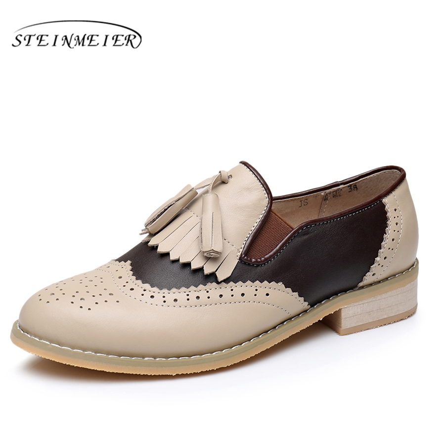Genuine leather big woman us11 tassel vintage Casual soft flat shoes round toe handmade beige oxford shoes for women fur hot sale mens italian style flat shoes genuine leather handmade men casual flats top quality oxford shoes men leather shoes