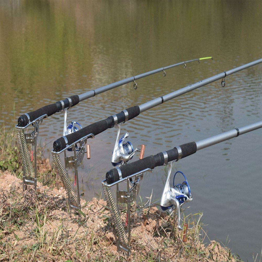 Automatic Adjustable Tackle Bracket Double Spring Fishing Rod Holder Angle Fish Pole Holding Bracket Outdoor Stainless Steel New