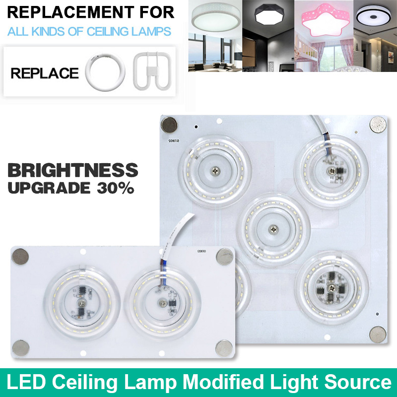 Replace LED Ceiling Lamp Light 12W 24W 35W 45W Modified Light Source 220V Octopus Led Lamp Light Plate Board for Kitchen Bedroom 3pcs 220v high pressure led lamp plate ceiling lamp renovation board lamp patch 12w bulb 60mm lamp patch