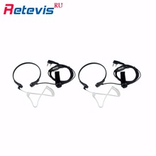 2pcs Throat Mic Earpiece Finger PTT Headset Walkie Talkie Accessories For Baofeng UV5R Bf-888s Retevis H777 RT5R Kenwood For HYT
